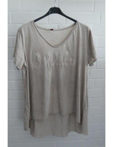 """3D Damen Shirt kurzarm beige sand verwaschen uni """"Oohlala""""  Baumwolle Onesize 38 - 44"""