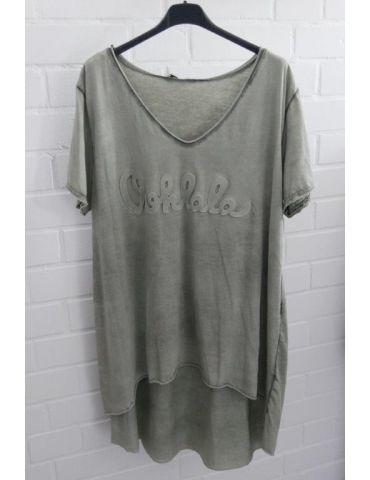 "3D Damen Shirt kurzarm khaki oliv grün verwaschen uni ""Oohlala""  Baumwolle Onesize 38 - 44"