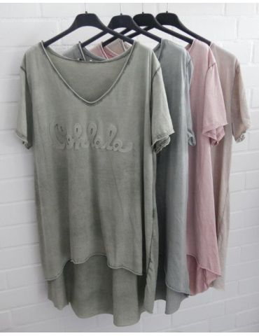 3D Damen Shirt kurzarm grau grey verwaschen uni...