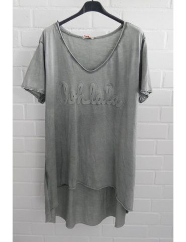"3D Damen Shirt kurzarm grau grey verwaschen uni ""Oohlala""  Baumwolle Onesize 38 - 44"