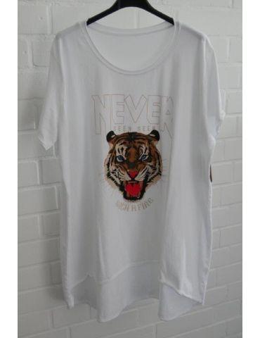 Damen Shirt A-Form kurzarm weiß bunt Tiger Baumwolle Onesize 38 - 46