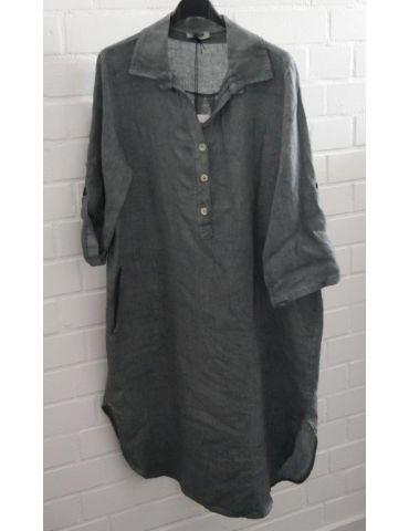 Xuna Damen Tunika Kleid 100% Leinen petrol aufgesetzte Taschen Onesize 38 - 42
