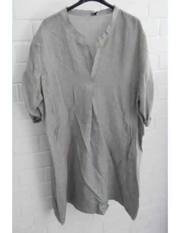Xuna Damen Tunika Kleid 100% Leinen hellgrau lindgrün Falte Onesize 38 - 46