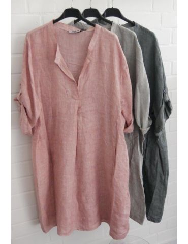 Xuna Damen Tunika Kleid 100% Leinen rose rosa...