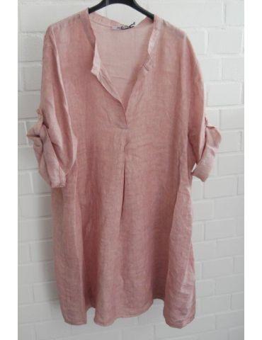 Xuna Damen Tunika Kleid 100% Leinen rose rosa Falte Onesize 38 - 46
