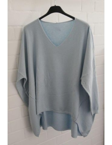 ESViViD Damen Pullover hellblau V-Ausschnitt Onesize 38 - 46 mit Viskose 7050
