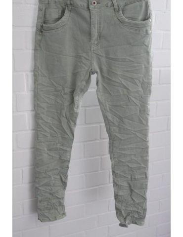 Jewelly Damen Jeans Hose lindgrün gecrasht mit Baumwolle JW 6303