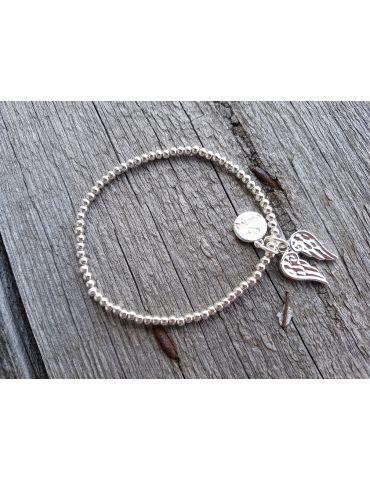 Armband Metallarmband Perlen klein silber Flügel Glanz elastisch