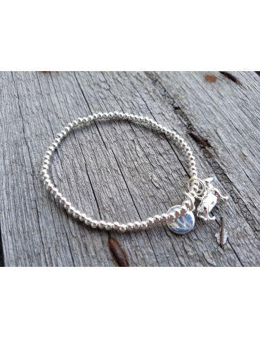 Armband Metallarmband silber glänzend Hund elastisch