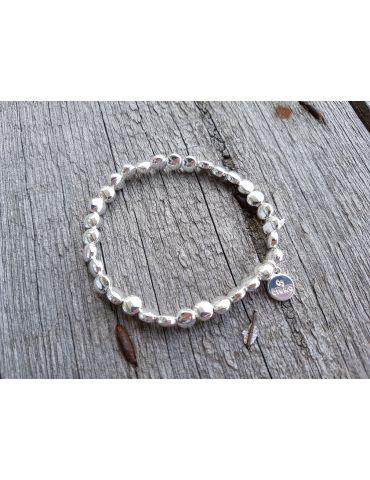 Trendiges Damen Armband elastisch silber glänzend flache Perlen klein Kunststoff Metall Onesize
