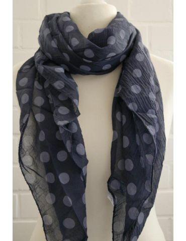 Schal Tuch Loop Made in Italy Seide Baumwolle dunkelblau bleu Punkte