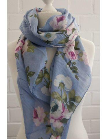 Tuch Loop Made in Italy Seide Baumwolle jeansblau pink bunt Blumen