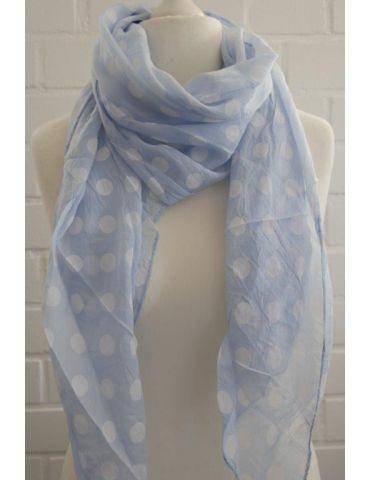 Schal Tuch Loop Made in Italy Seide Baumwolle hellblau weiß Punkte