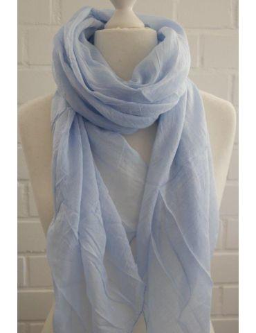 Schal Tuch Loop Made in Italy Seide Baumwolle hellblau uni