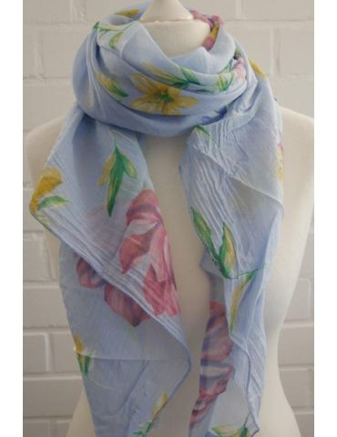 Schal Tuch Loop Made in Italy Seide Baumwolle hellblau grün gelb bunt Blumen