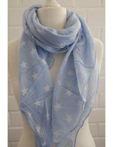 Schal Tuch Loop Made in Italy Seide Baumwolle hellblau weiß Sterne