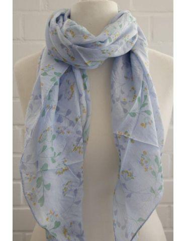 Schal Tuch Loop Made in Italy Seide Baumwolle hellblau gelb grün Blumen