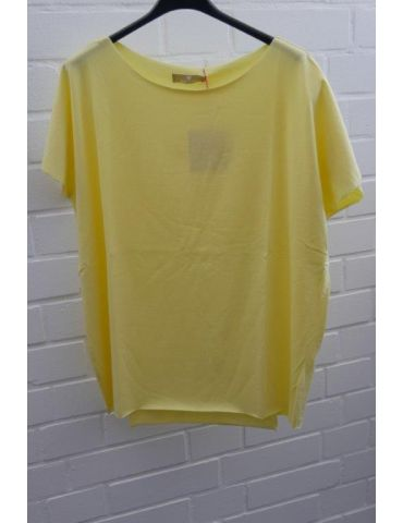 Damen Shirt kurzarm helles gelb mit Baumwolle Onesize 38 - 44