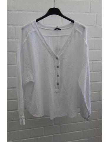 Xuna kurze Damen Bluse langarm weiß Baumwolle Onesize 38 - 42