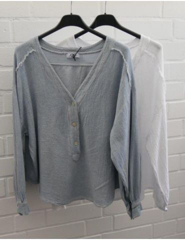 Xuna kurze Damen Bluse langarm weiß Baumwolle...