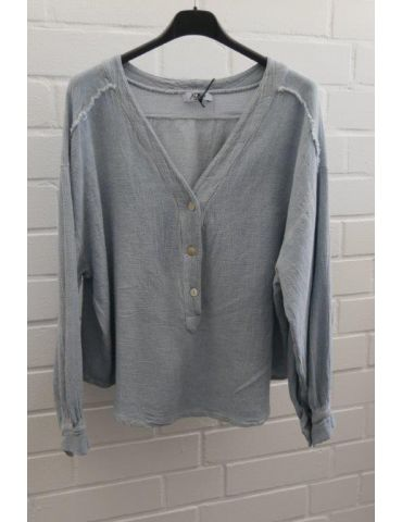 Xuna kurze Damen Bluse langarm rauchblau Vintage Baumwolle Onesize 38 - 42