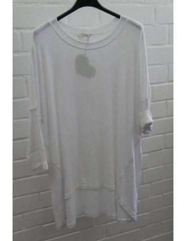 ESViViD Damen Shirt 3/4 Ärmel weiß mit Baumwolle Onesize ca. 38 - 44 3611