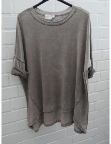 ESViViD Damen Shirt 3/4 Ärmel taupe braun mit Baumwolle Onesize ca. 38 - 44 3611