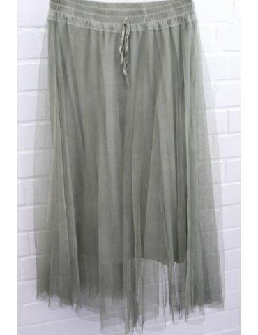 Xuna Damen Tüll Rock khaki oliv grün Onesize ca. 38 - 42 Blogger Style