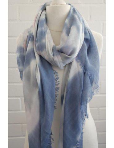 Leichter XL Damen Schal Tuch weiß hellgrau bleu rose Batik