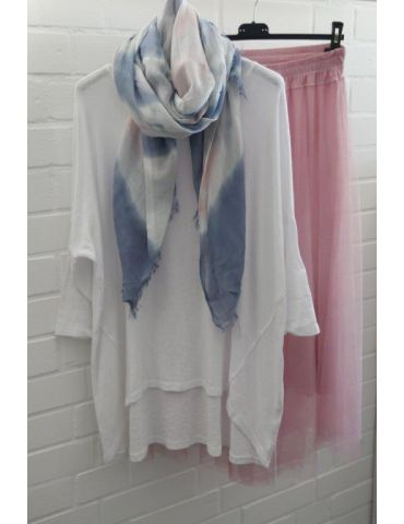 Leichter XL Damen Schal Tuch weiß hellgrau bleu...