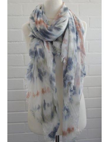 Leichter XL Damen Schal Tuch weiß bleu rost lindgrün Batik