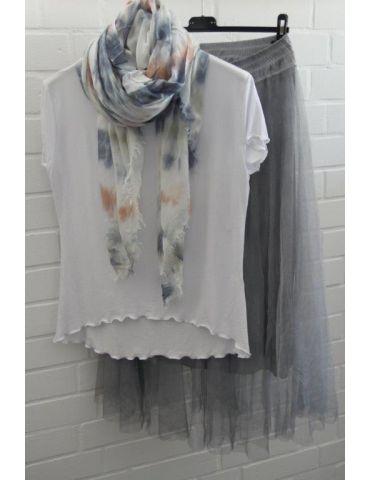 Leichter XL Damen Schal Tuch weiß bleu rost...