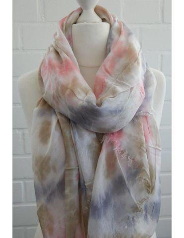 Leichter XL Damen Schal Tuch weiß bleu rose beige Batik