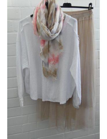 Leichter XL Damen Schal Tuch weiß bleu rose...