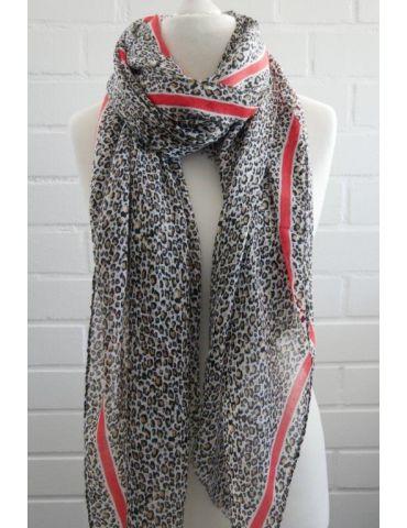Leichter XL Damen Schal Tuch creme schwarz braun orange Leo