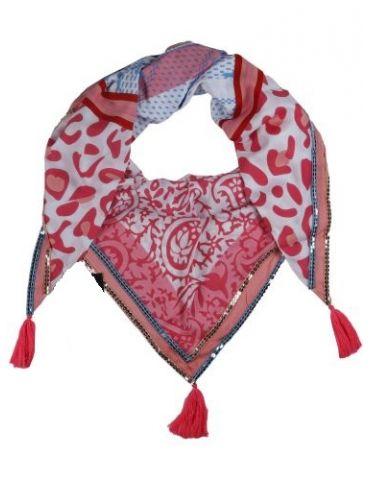 Zwillingsherz Dreieckstuch Tuch Schal weiß rot pink blau bunt Leo Streifen Viskose