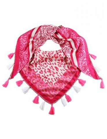 Zwillingsherz Dreieckstuch Tuch Schal weiß rot pink Leo Viskose