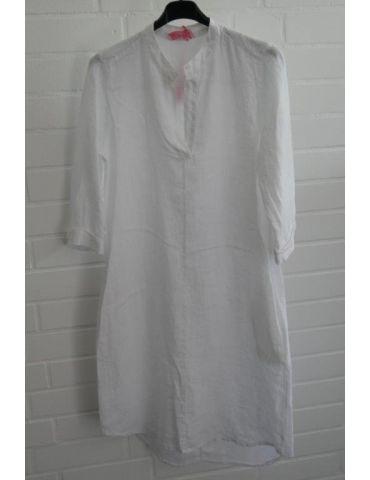 ESViViD Damen Tunika Kleid 100% Leinen weiß white schlicht 5097