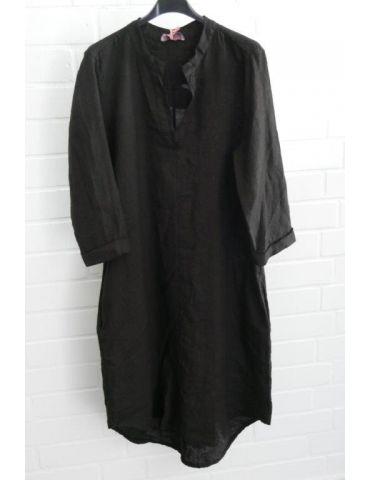 ESViViD Damen Tunika Kleid 100% Leinen schwarz black schlicht 5097