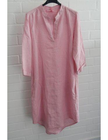ESViViD Damen Tunika Kleid 100% Leinen dunkelblau marine schlicht 5097