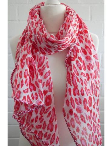 Leichter Zwillingsherz Damen Schal Tuch weiß rot pink Leo Baumwolle