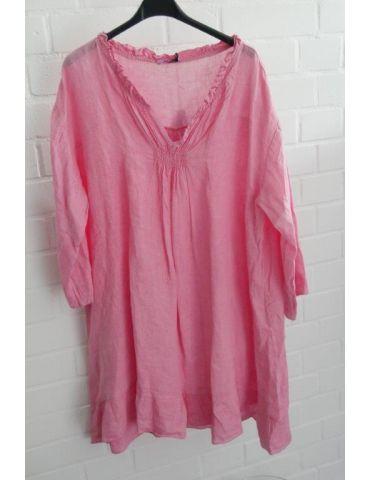 Xuna Damen Tunika Kleid 100% Leinen Raffung pink Onesize 38 - 46