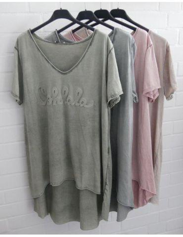 3D Damen Shirt kurzarm dunkelblau verwaschen...