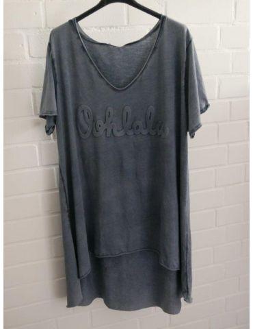 "3D Damen Shirt kurzarm dunkelblau verwaschen uni ""Oohlala""  Baumwolle Onesize 38 - 44"