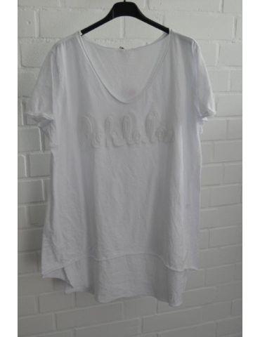 "3D Damen Shirt kurzarm weiß white uni ""Oohlala""  Baumwolle Onesize 38 - 44"