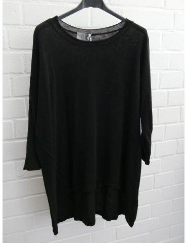 ESViViD Damen Shirt 3/4 Ärmel schwarz black mit Baumwolle Onesize ca. 38 - 44 3611