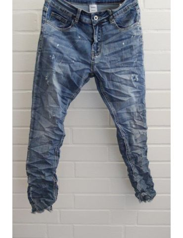 Trendige Coole Jeans Hose Damenhose blau verwaschen Risse Farbspritzer