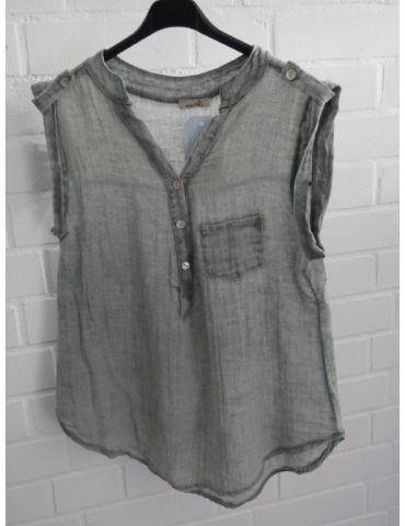 Leichte ärmellose Damen Bluse Musselin grau grey Baumwolle Onesize 38 40