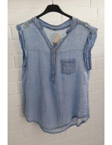 Leichte ärmellose Damen Bluse Musselin blau blue Baumwolle Onesize 38 40