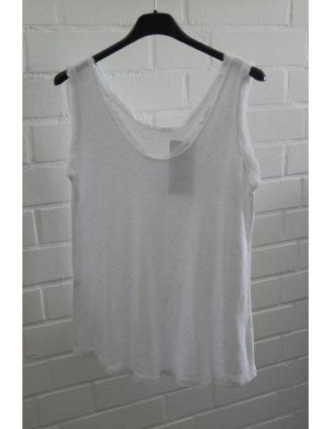 Damen Top Shirt weiß white uni Baumwolle Fransen Kante Onesize 36 - 40